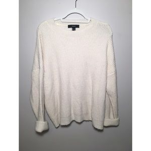 Forever 21 Cream Knit Sweater Medium